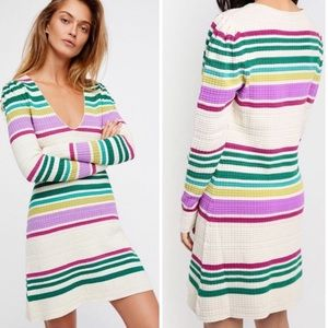 Free People Striped Sweater Dress Knit M